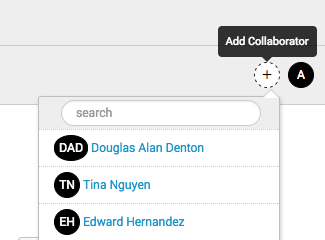 This screen image shows the list of collaborators that appear when you click the add collaborators plus icon.