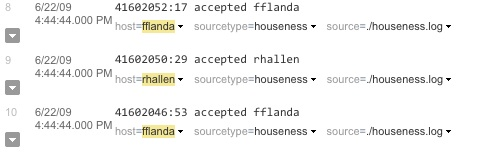 This screenshot shows a list of results, with fflanda as the first host value, rhallen second, and fflanda third.