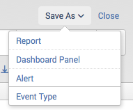 This screen image shows the Save As drop-down list of save options.