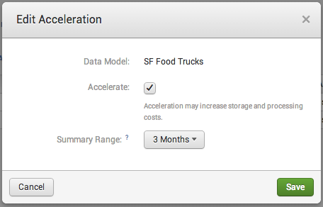 The screen image shows the Edit Acceleration dialog for a data model called SF Food Trucks. The Accelerate checkbox is selected. The Summary Range is set to 3 Months.
