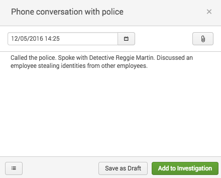 This screen image shows adding a note to an investigation