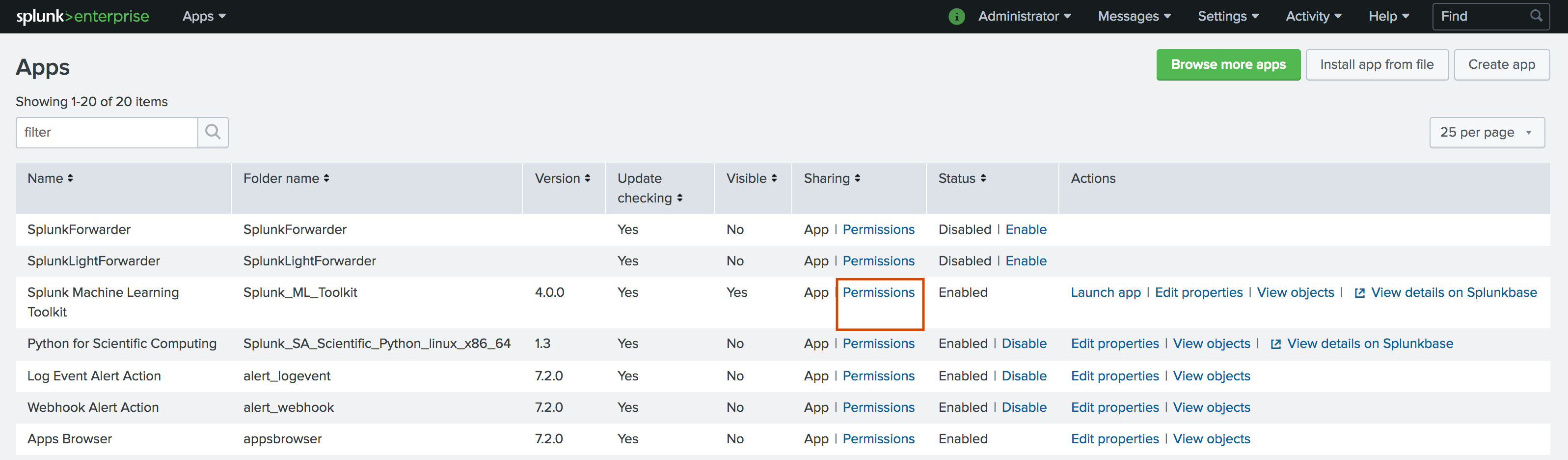 This image shows the Permissions page with a list of Splunk apps. The MLTK app is listed, and the Permissions link is highlighted.