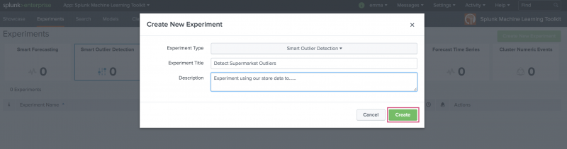 This image shows the resulting modal window that generates following clicking the Create New Experiment button. Fields are filled in for Experiment Title and Description and a button labeled Create is highlighted in the bottom right corner of the modal window.