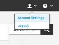 This screen image shows the Splunk bar. The user account is selected. The menu choices are Account Settings and Logout.