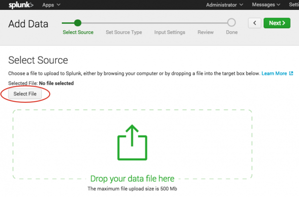 This screen image shows the first step in adding data, Select Source.  Click the Select File button and browse to where you downloaded the tutorialdata.zip file.