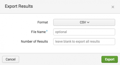 This screen image shows the Export Results dialog box. The choices in the dialog box are Format, File Name, and Number of Results.