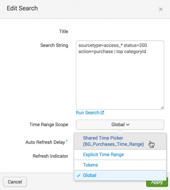This screen image shows the Edit Search dialog box with the Shared Time Picker selected.