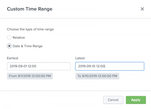 This screen image shows the Custom time picker with the Date and Time Range radio button selected.
