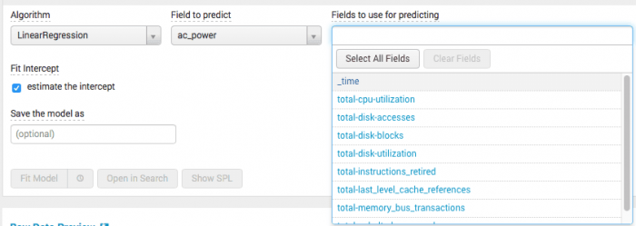 This image shows the algorithm and field selection drop down menus in the Predict Numeric Fields assistant.