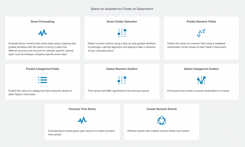 This image shows the landing page a user sees when they first select Experiments. Each areas of machine learning covered by Experiment Assistants is displayed, along with brief descriptions of each one.