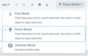 This image shows the three search modes: Fast, Smart, Verbose. The Fast mode turns off field discovery for event searches. The field and event data is turned off for searches with the stats command. The Smart mode turns on field discovery for event searches. The Verbose mode returns all field and event data.