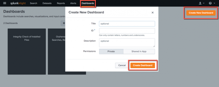 This screen image shows how to use the Dashboards page to create a new dashboard. The Create New Dashboard dialog is also shown, which is where the title, ID, description, and permissions for the dashboard are entered.
