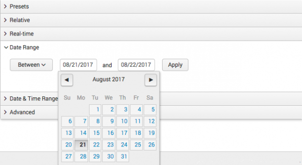 This screen image shows the calendar that appears when you click in one of the date fields.