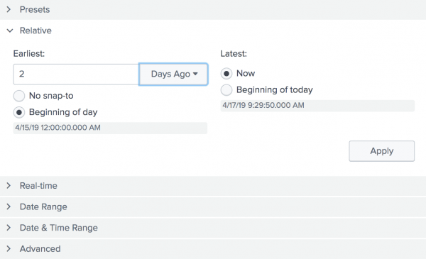 "This screen image shows the Relative option. For the ""Earliest"" time, the number 2 is typed in.  From the drop-down list, ""Days Ago"" is selected.  For the  ""Latest"" time, the radio button ""Now"" is selected."