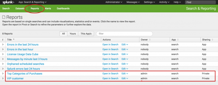 This screen image shows the Reports page. The VIP Customer report that you created is listed at the bottom.  The other reports in the list are built-in reports that come with the Splunk software.