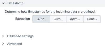 This screen image shows the Timestamp options in the Add Data wizard.
