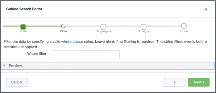 This screen image shows the guided search editor where clause filter page.