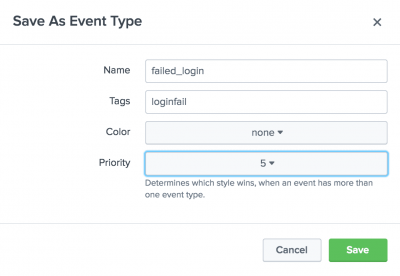 This image shows the Save As Event Type dialog box. There are 4 settings: Name, Tags, Color, and Priority.