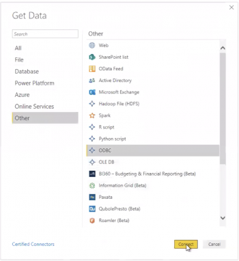 This screenshot shows the Power BI configuration menu. The list includes the data source name (DSN), and the URL of the user's Splunk Enterprise instance.