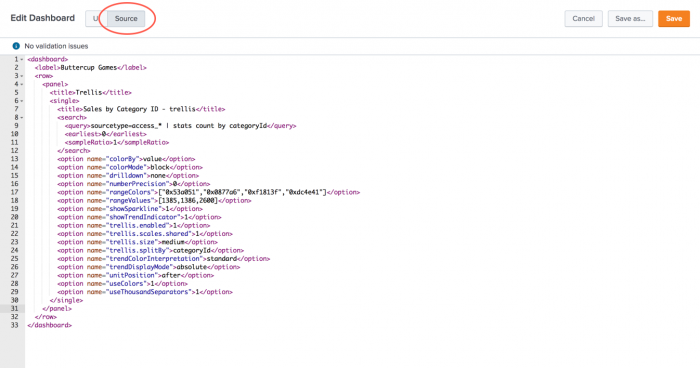 This screen image shows how to access the simple XML code of a dashboard to view or edit.