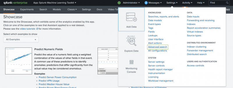 This screenshot of the Splunk interface shows the menu options available by clicking the Settings menu in the Splunk bar. The option for Advanced Settings is highlighted.