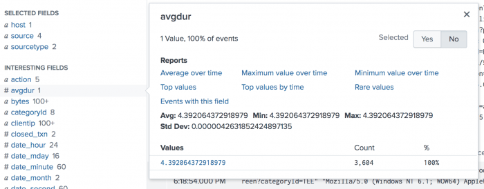 This image shows the list of Interesting Fields in Splunk Web with the avgdur field highlighted. Only one value is listed