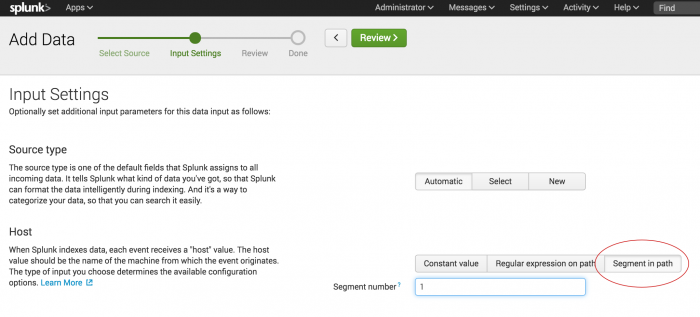 This screen image shows the next step in adding data, Input Settings The Segment in path option is highlighted.