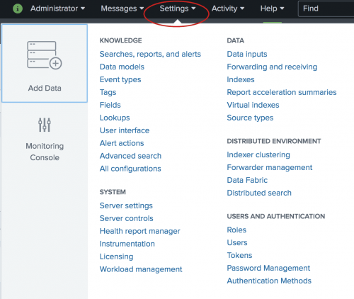 This image shows the Settings menu that you access from the Splunk bar. The Settings menu contains options to manage Knowledge objects, Data, System settings, Distributed Environment settings, and User access.