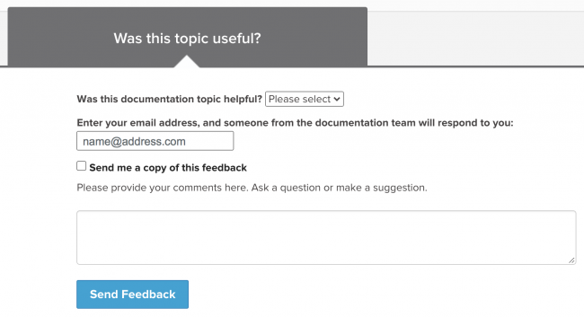 "This screen image shows the ""Was this topic useful"" form at the bottom of each topic in the Splunk documentation."