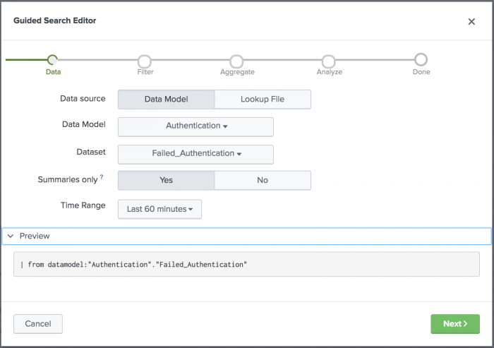 This screen image shows the guided correlation search editor with a preview of the Authentication data model and Failed Authentication dataset search.