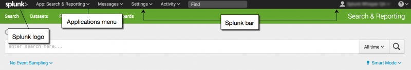 This image shows the Splunk bar in Splunk Cloud. From left to right, the first item on the Splunk bar is the Splunk logo. The second item is the Application menu.