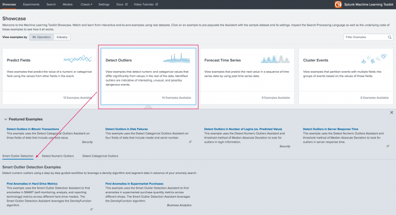 This image shows the landing page for the Machine Learning Toolkit Showcase page. The Detect Outliers option is highlighted and pointing to the available examples for the Smart Outlier Detection Assistant.