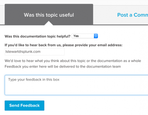 "This screen image shows the""Was this topic useful"" form at the bottom of each topic in the documentation."