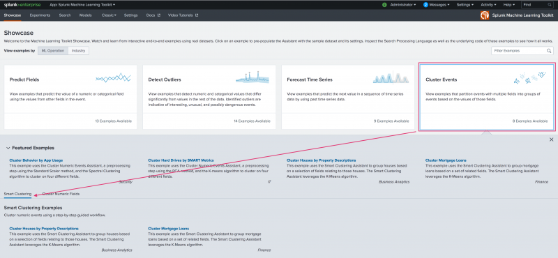 This image shows the landing page for the Machine Learning Toolkit Showcase page. The Cluster Events option is highlighted and pointing to the available examples for the Smart Clustering Assistant.