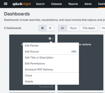 This screen image shows how to access the editing menu for a dashboard from the Dashboards page.