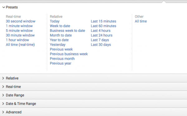 This screen capture shows the time range picker drop-down list. The list that is displayed is the Presets list.