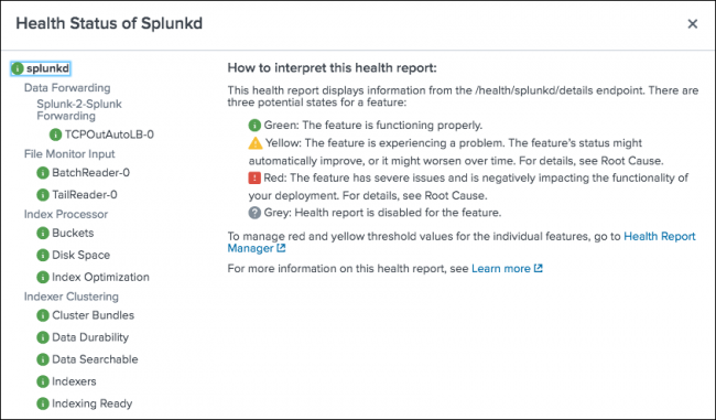 The image shows the splunkd health report. The health report includes the splunkd status tree, and provides detailed diagnostic information about changes in feature health status.