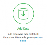 This screen capture shows the Add Data option in Splunk Enterprise.