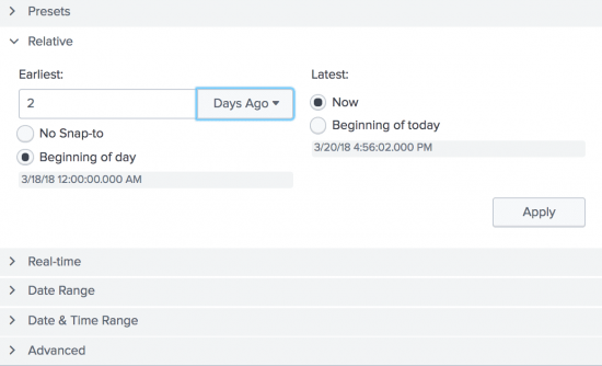"This screen image shows the Relative option. For  ""Earliest"", the number 2 is typed in.  From the drop-down list, ""Days Ago"" is selected.  For ""Latest"", the default radio button ""Now"" is selected."