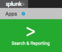 This image shows the Apps panel on the Splunk Home page. The Search and Reporting application is listed in this panel.