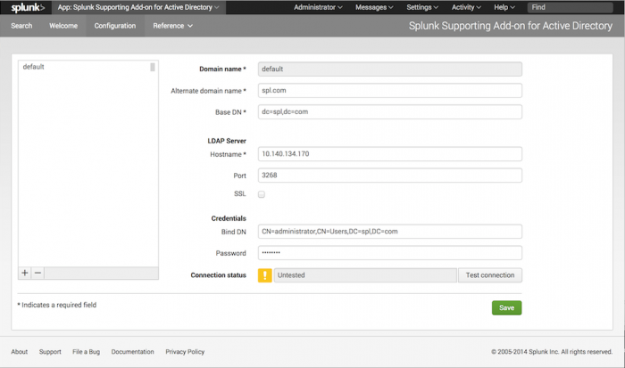 Configure the Splunk Supporting Add-on for Active Directory