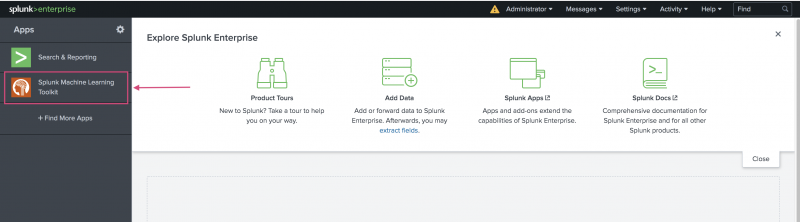 This image shows the Splunk platform main page. The Machine Learning Toolkit app is highlighted on the left menu bar.