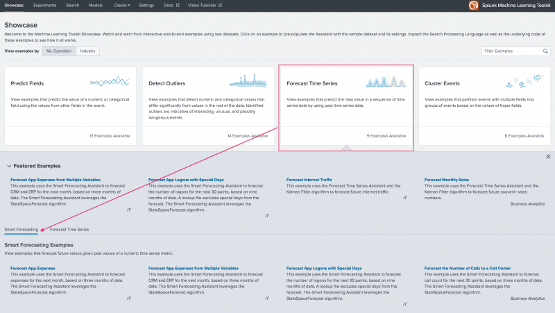 This image shows the landing page for the Machine Learning Toolkit Showcase page. The Forecast Time Series option is highlighted and pointing to the four end-to-end examples for the Smart Forecasting Assistant.