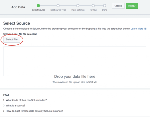 This screen image shows the first step in adding data, Select Source.  The Select File button is highlighted. Browse to where you downloaded the tutorialdata.zip file.