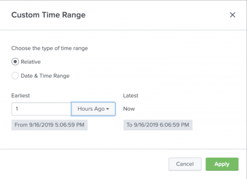 This screen image shows the Custom time picker with the Relative radio button selected.
