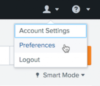 This screen image shows the Splunk bar. The user account is selected. The menu choices are Account Settings, Preferences, and Logout.