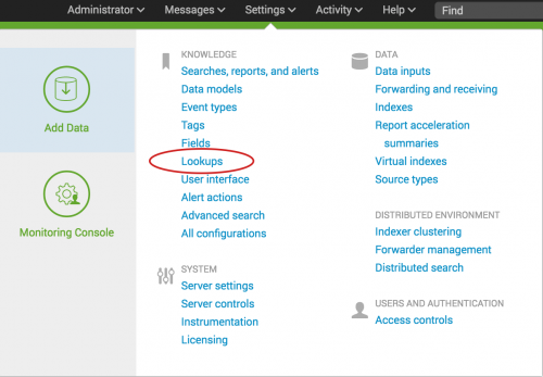 This image shows the Settings drop-down. The Lookups option is circled.