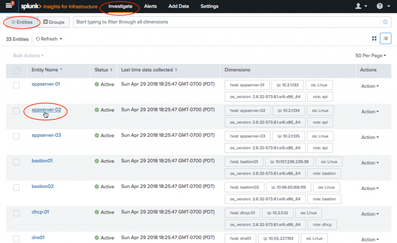 Monitor CPU usage using Splunk App for Infrastructure