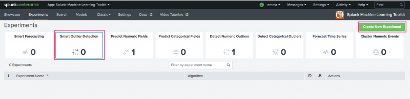 This image shows the Machine Learning Toolkit and the view under the Experiments tab. The Experiment types are displayed from which a user can create a new Experiment of that type. The new Experiment type of Smart Outlier Detection Assistant is highlighted.