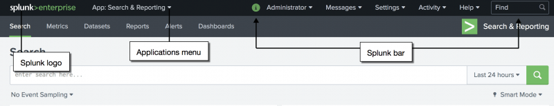 This image shows the Splunk bar in Splunk Enterprise. From left to right, the first item on the Splunk bar is the Splunk logo. The second item is the Applications menu. To the right are several other menus, such as Account, Messages, Settings, and so forth.